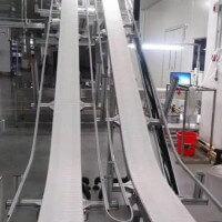 化妆品行业65mm柔性链板线输送带